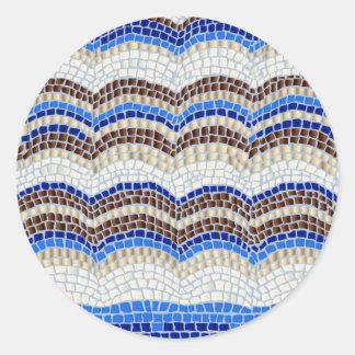 Pegatina redondo brillante grande del mosaico azul