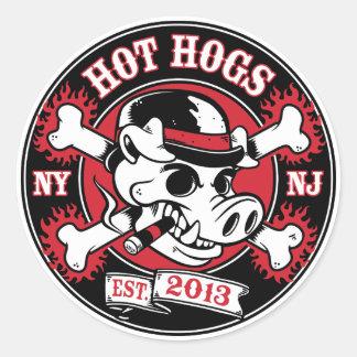 Pegatina redondo clásico caliente de Hogs™