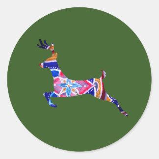 Pegatina redondo clásico de los ciervos de la