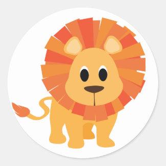 Pegatina redondo clásico del león dulce