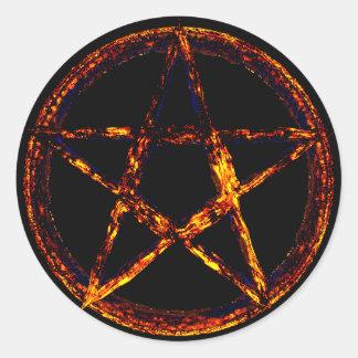 Pegatina redondo clásico del Pentagram, brillante