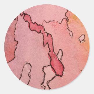 Pegatina redondo clásico pequeño w/abstract