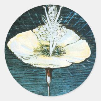 Pegatina redondo de la flor de hadas del conejo de