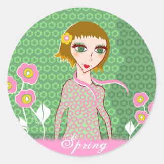 Pegatina redondo de la primavera