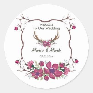 Pegatina redondo del boda floral decorativo