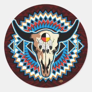Pegatina redondo del cráneo del nativo americano