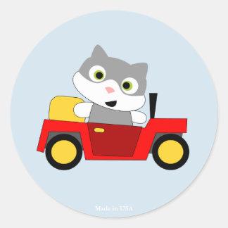 Pegatina redondo del diseño divertido del gato