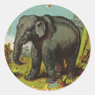 pegatina redondo del elefante antiguo de los 1880s