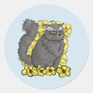 Pegatina redondo del gatito gruñón