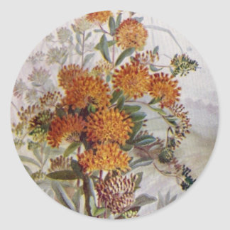 Pegatina redondo del Wildflower botánico de la