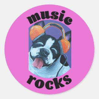 Pegatina redondo (rocas de la música)