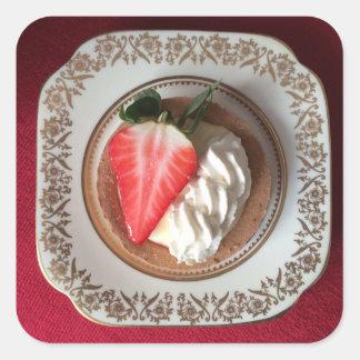 Pegatina rojo agrio del terciopelo de la fresa