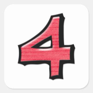 Pegatina rojo de la casilla blanca del número 4 to