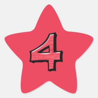 Pegatina rojo de la estrella del número 4 tontos