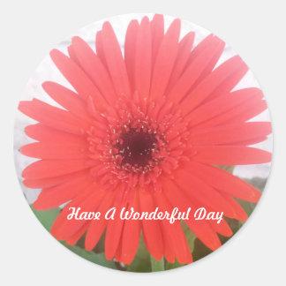 Pegatina rojo de la flor de la margarita de Gerber