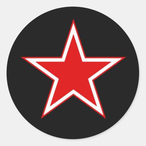Pegatina rojo del negro de la estrella