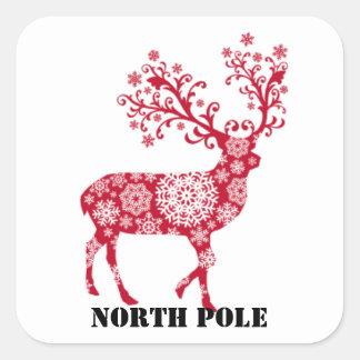 Pegatina rojo del sobre de Polo Norte del reno