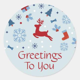 Pegatina rojo y azul festivo del navidad