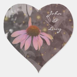 Pegatina romántico rosado de la flor de la