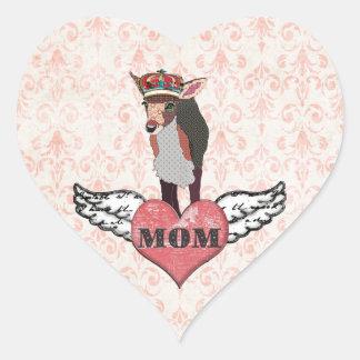 Pegatina rosado bonito de la mamá del corazón del