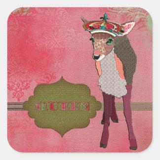 Pegatina rosado bonito del cervatillo de la reina