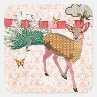 Pegatina rosado color de rosa de oro de los ciervo