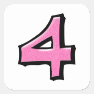 Pegatina rosado de la casilla blanca del número 4