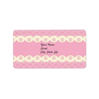 Pegatina rosado de la dirección del ojeteador del etiqueta de dirección