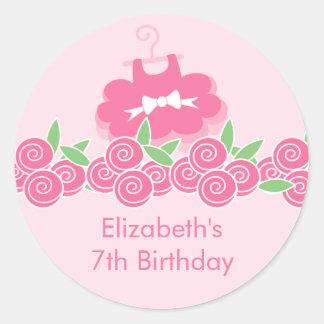 Pegatina rosado de la fiesta de cumpleaños de la