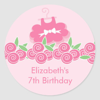 Pegatina rosado de la fiesta de cumpleaños de la d
