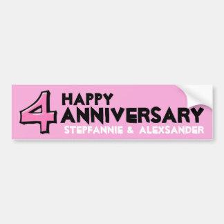 Pegatina rosado del aniversario del número 4 pegatina para coche