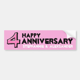 Pegatina rosado del aniversario del número 4 tonto pegatina para coche