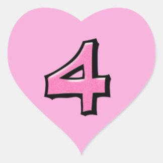 Pegatina rosado del corazón del número 4 tontos