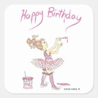 Pegatina rosado del cumpleaños del tutú