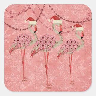 Pegatina rosado del día de fiesta de los flamencos