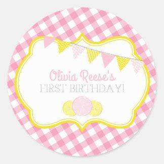 Pegatina rosado del fiesta de la limonada
