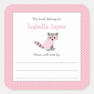 Pegatina rosado del libro del bookplate de la