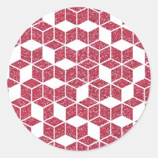 Pegatina rosado del modelo del cubo del brillo