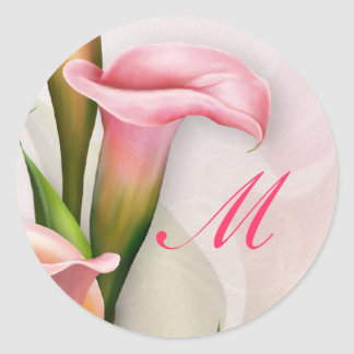 Pegatina rosado del sobre del monograma de la cala
