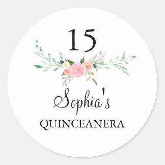 Pegatina rosado floral de Quinceanera de la