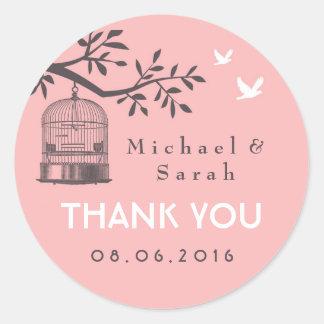 Pegatina rosado y gris del boda de la jaula de