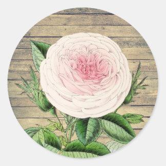 Pegatina rústico floral color de rosa del vintage