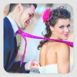 Pegatina simple de la foto del boda pegatina cuadrada