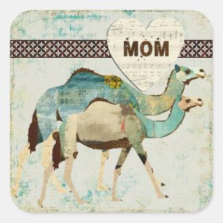 Pegatina soñador azul de la mamá de los camellos