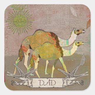 Pegatina soñador del papá de los camellos