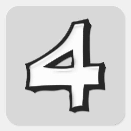 Pegatina tonto de la casilla blanca del número 4