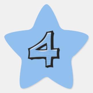 Pegatina tonto de la estrella azul del número 4