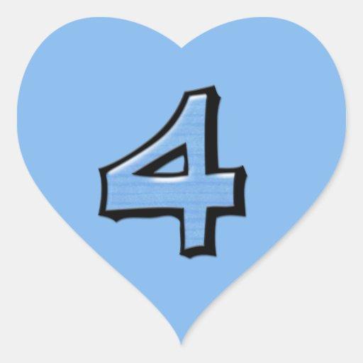 Pegatina tonto del corazón del azul del número 4