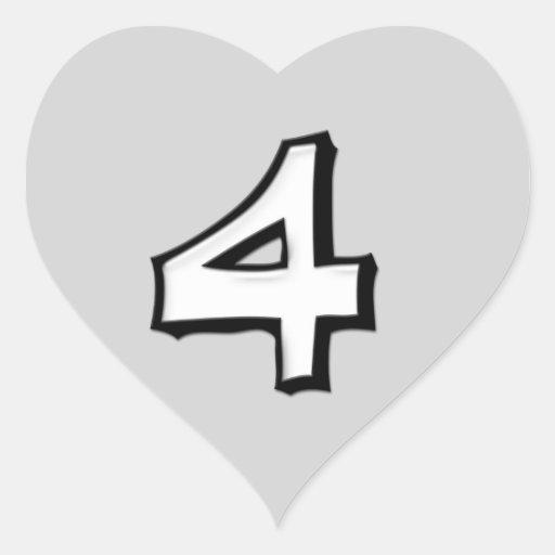 Pegatina tonto del corazón del blanco del número 4