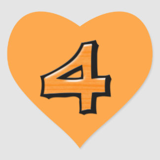 Pegatina tonto del corazón del naranja del número